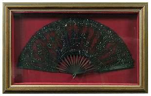Black lace folding fan,