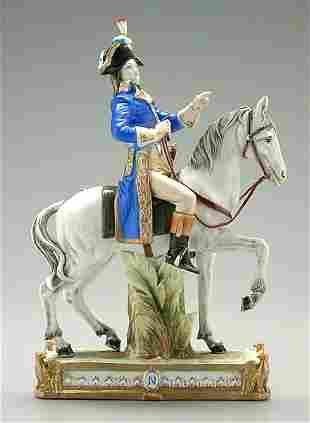 Napoleonic porcelain figure on horse,
