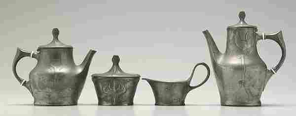 Four piece Kayserzinn tea service