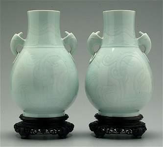 412: Pair Chinese celadon vases: