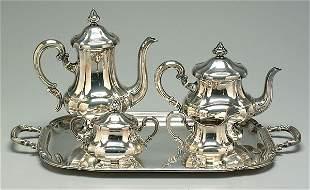 Sterling silver tea service,