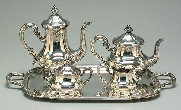 595: Sterling silver tea service,