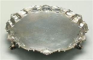 George III English silver salver,