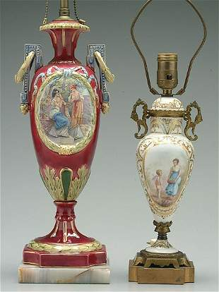 Two porcelain vases mounted as lamps