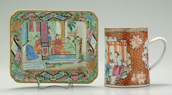 601: Two pieces Chinese export porcelain: