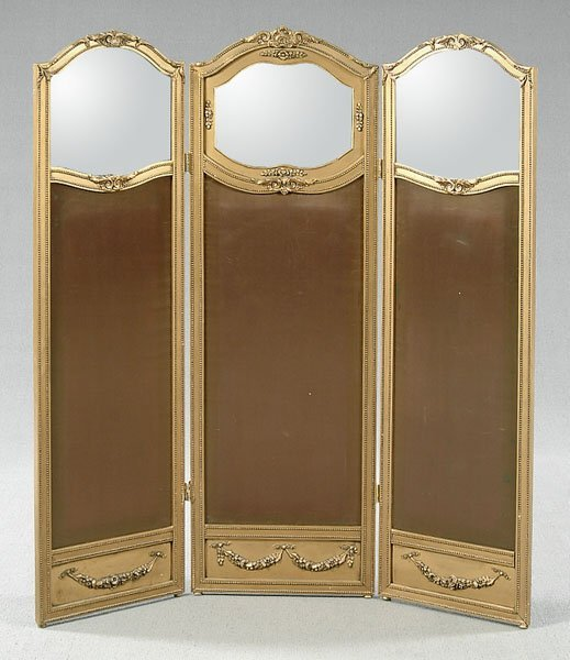605: Three panel French style screen,