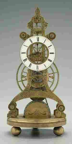 John Roskell skeleton clock,