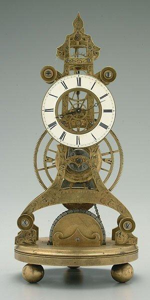 606: John Roskell skeleton clock,