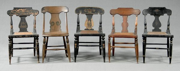612: Five 19th century American chairs: