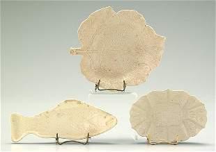 Three pieces early creamware