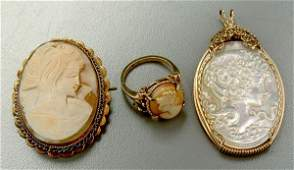 784 Three pieces carved cameo jewelry