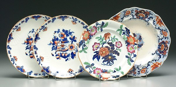 601: Four Imari style plates and bowls,