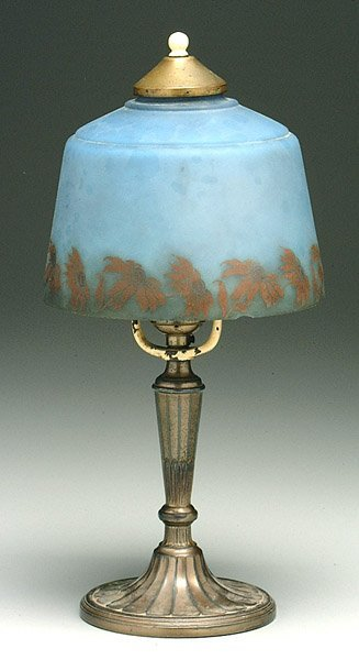 604: Desk lamp, reverse-painted shade,