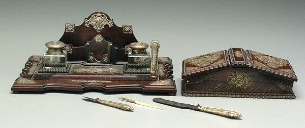607: Rosewood desk set,