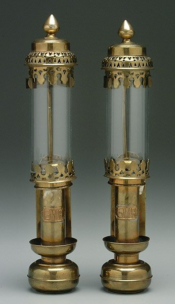 610: Pair brass railroad lamps,