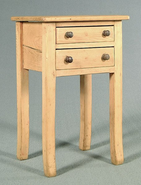 613: Two-drawer English pine stand,