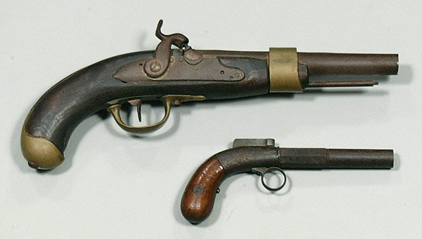 0618E: Brass-mounted percussion pistol,