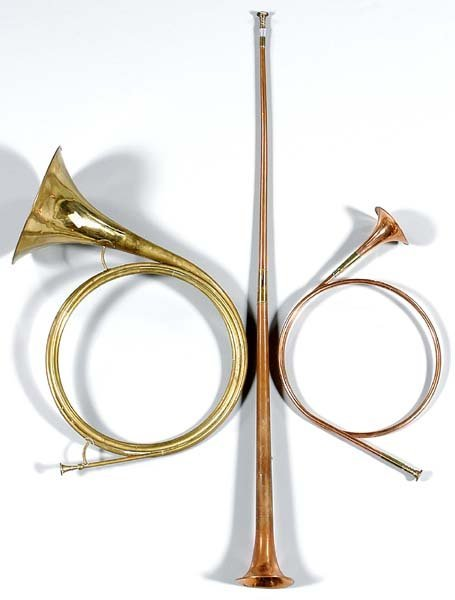 1: Three brass and copper hunting horns: