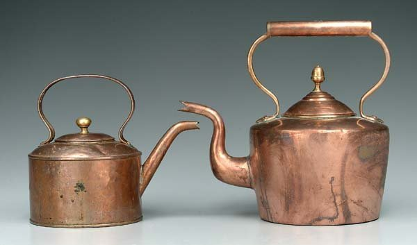 6: Two 19th century copper teapots: