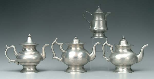 8: Four lidded pewter pots:
