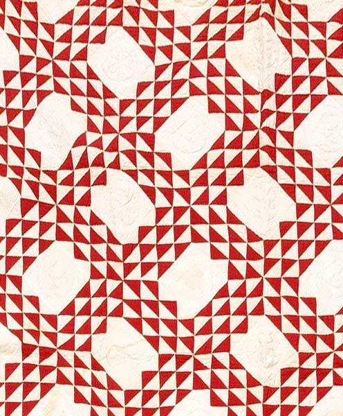 602: Hand-stitched and pieced quilt,