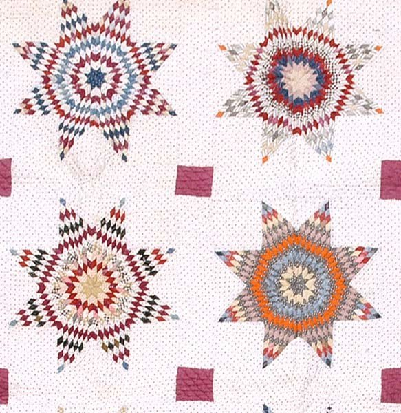 604: Hand-stitched and pieced quilt,