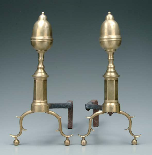 611: Pair Federal brass andirons: