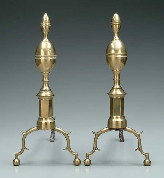 612: Pair Federal brass andirons: