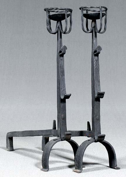 613: Pair iron andirons: