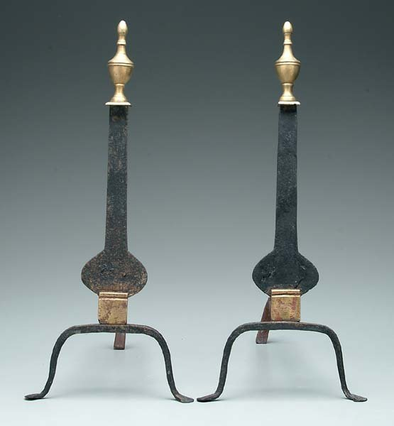 614: Pair blade-type andirons: