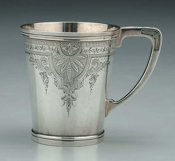 746: Texas coin silver mug,