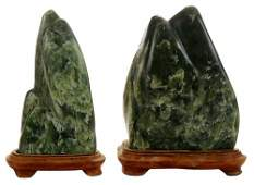 Two Polished Green Nephrite Jade
