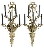 Pair Louis XVI Style Gilt Bronze Five
