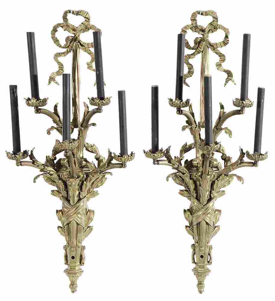 Pair Louis XVI Style Gilt Bronze Five