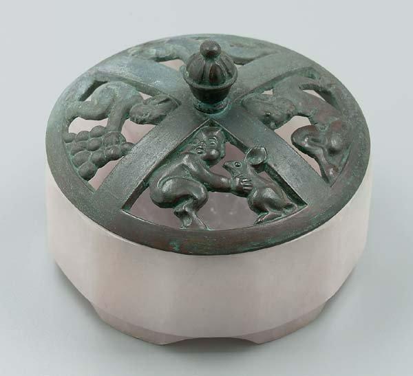 2: Bronze and alabaster box,