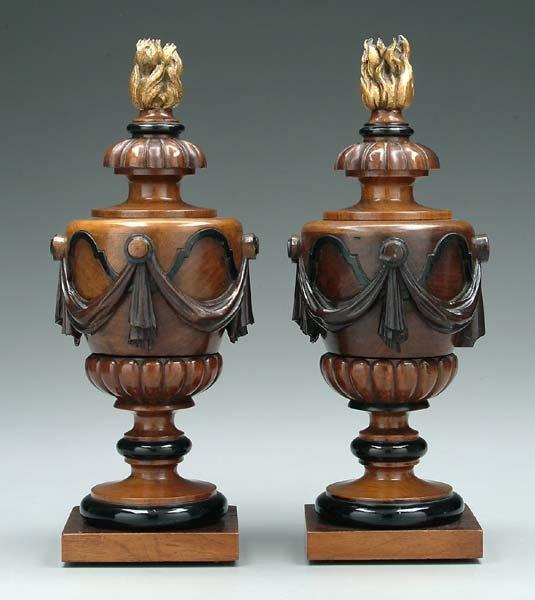 9: Pair figured walnut urns: