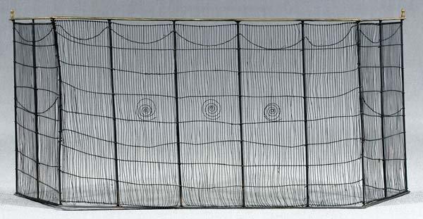15: Folding wirework screen,