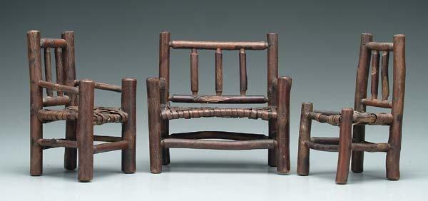 16: Three pieces miniature twig furniture: