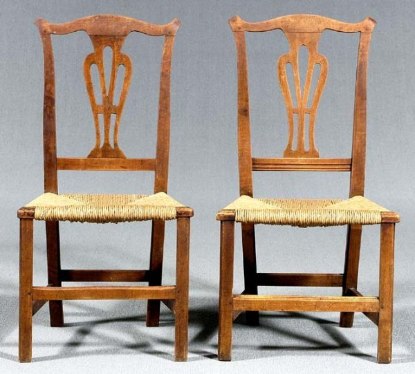 22: Pair New England maple side chairs: