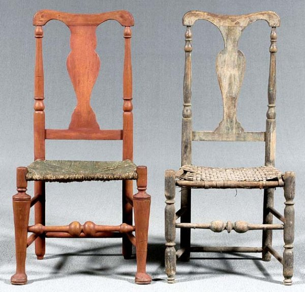 24: Two 18th century American side chairs: