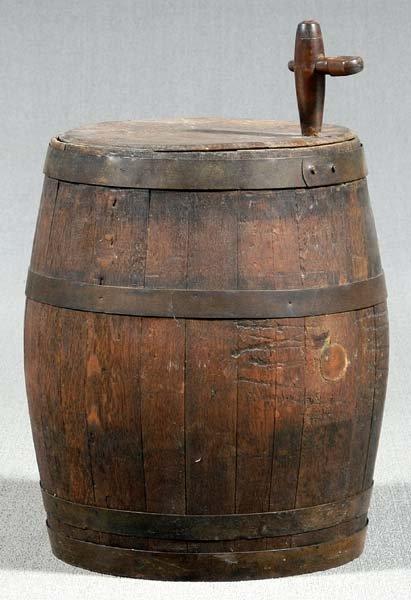 607: Iron-bound oak cask,