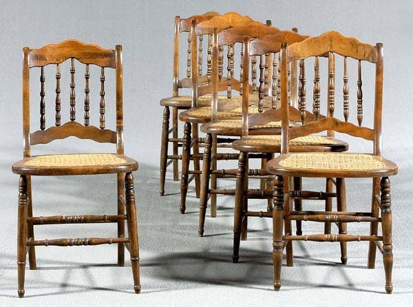 612: Set six cane-seat side chairs: