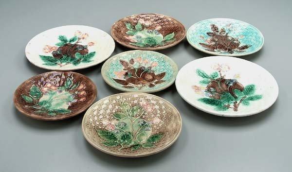 621: Seven majolica plates,