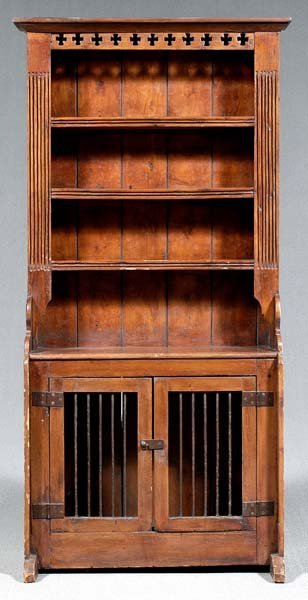 630: French pine pewter cupboard,