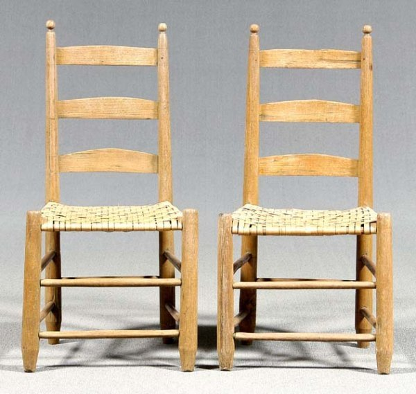 632: Pair ladder-back chairs,