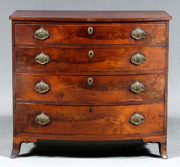 750: Federal inlaid walnut bow-front chest,