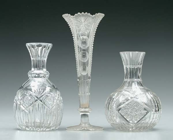 894: Three pieces cut glass: