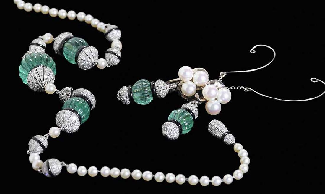 Vintage Emerald, Diamond and Pearl