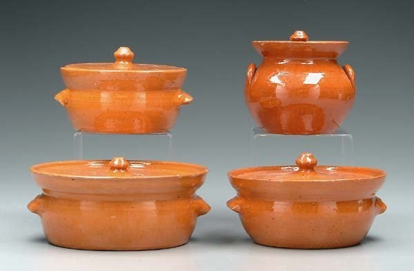 3: Four lidded Jugtown pots: