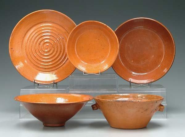 7: Five Jugtown bowls: